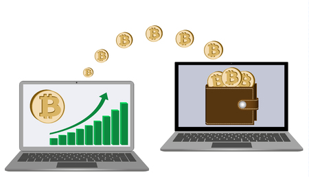 A symbol of transferring bitcoin coins from a laptop in the wallet to another laptop on a white background, showing growth diagram of cryptocurrency in the wallet. Stock fotó - 101011510