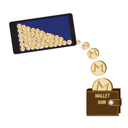 Transfer monero coins from phone to wallet on a white background, crypto currency coins are poured from the phone in the wallet, design concept.