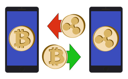 Exchange between bitcoin and ripple in the phone on a white background, symbol cryptocurrency coins in the phone design concept color Ilustração