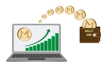transfer monero coins from laptop in the wallet on a white background,growth diagram with coin of monero on laptop screen,transfer crypto currency in the wallet,brown monero wallet design concept