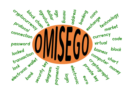 a word cloud associated with omisego on a white background ,  word omisego in the middle Illustration