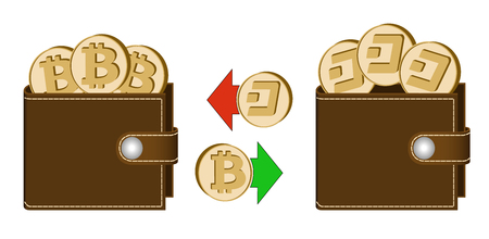 exchange bitcoin to dash between wallets on a white background , exchange cryptocurrency in the wallet , design concept color