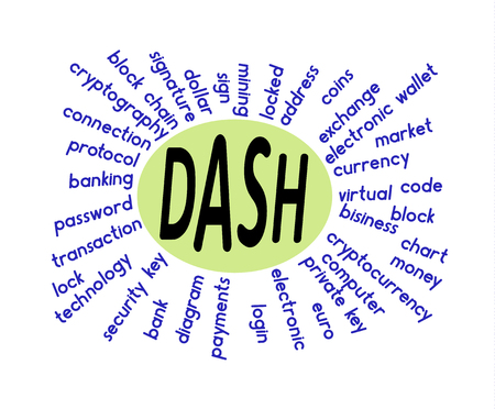 a word cloud associated with dash on a white background ,  word dash in the middle Illustration