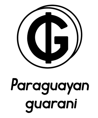 coin with paraguayan guarani sign  in the form of coins and with a description  on a white background , black and white color