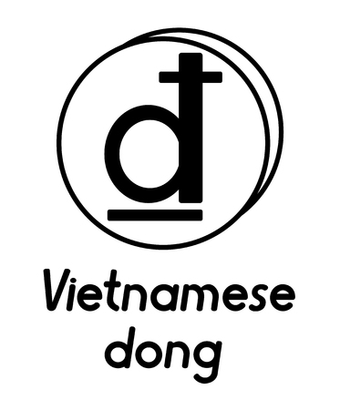 coin with vietnamese dong sign  in the form of coins and with a description  on a white background , black and white color 向量圖像