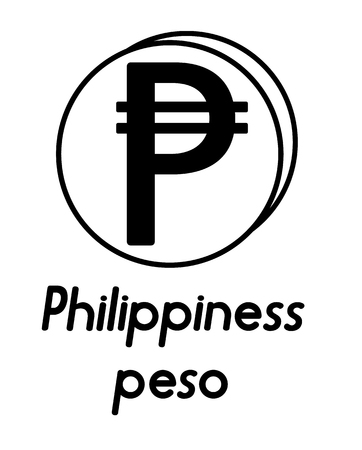 coin with philippiness peso sign  in the form of coins and with a description  on a white background , black and white color