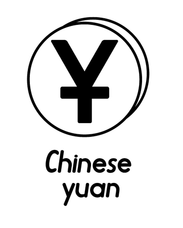 coin with chinese yuan sign  in the form of coins and with a description  on a white background , black and white color