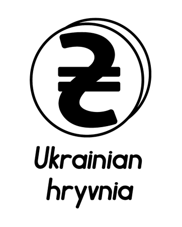 coin with ukrainian hryvnia sign  in the form of coins and with a description  on a white background , black and white color 向量圖像