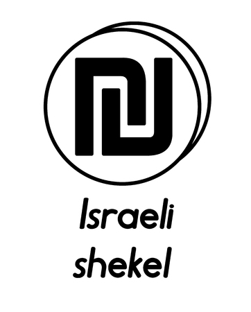 coin with israeli shekel sign  in the form of coins and with a description  on a white background , black and white color