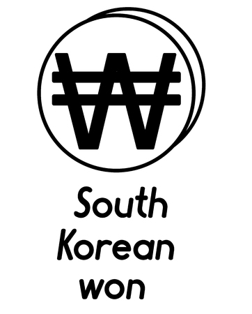 coin with south korean won sign  in the form of coins and with a description  on a white background , black and white color 向量圖像
