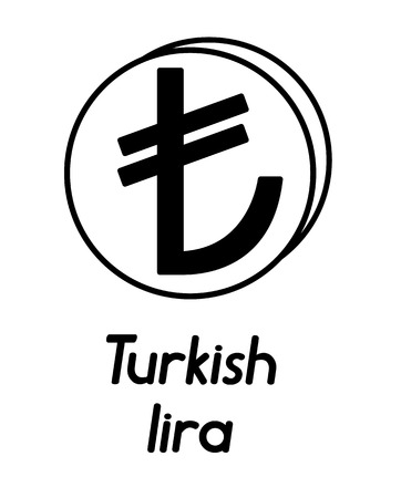 coin with turkish lira sign  in the form of coins and with a description  on a white background , black and white color Illustration