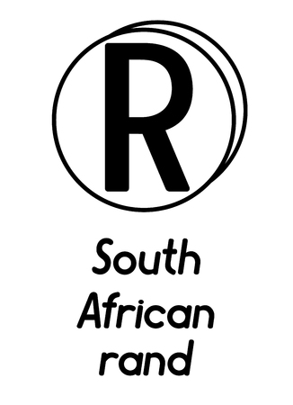 coin with south african rand sign  in the form of coins and with a description  on a white background , black and white color