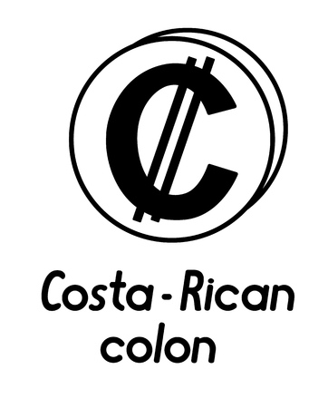 coin with costa-rican colon sign  in the form of coins and with a description  on a white background , black and white color