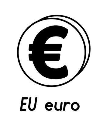 coin with euro sign  in the form of coins and with a description  on a white background , black and white color