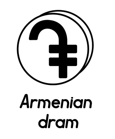 coin with armenian dram sign  in the form of coins and with a description  on a white background , black and white color