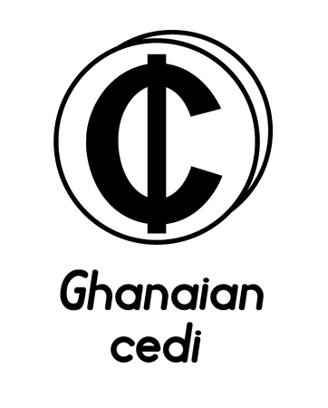 coin with ghanaian cedi sign  in the form of coins and with a description  on a white background , black and white color