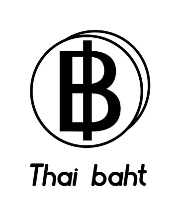 coin with thai baht sign  in the form of coins and with a description  on a white background , black and white color
