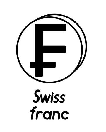 coin with swiss franc sign  in the form of coins and with a description  on a white background , black and white color