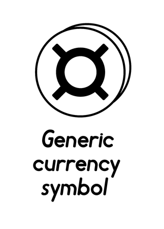 coin with generic currency symbol sign  in the form of coins and with a description  on a white background , black and white color