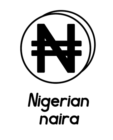 coin with nigerian naira sign  in the form of coins and with a description  on a white background , black and white color