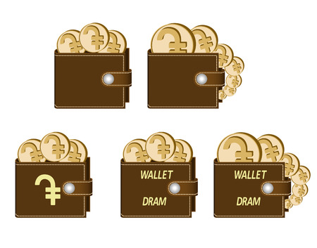 set of brown  wallets with dram coins on a white background , currency in the wallet,sign and symbol currency concept in the form of coins,words wallet dram and sign on the face of the wallet Illustration