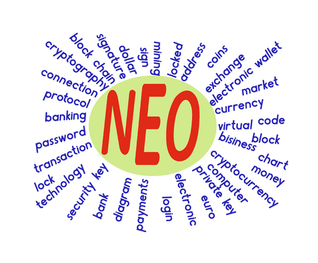 a word cloud associated with neo on a white background ,  word neo in the middle