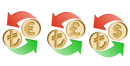 exchange turkish lira to euro, pound sterling and dollar on a white background , sign currency in the form coin with green and red arrow , color design concept Illustration