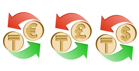 exchange kazakh tenge to euro, pound sterling and dollar on a white background , sign currency in the form coin with green and red arrow , color design concept