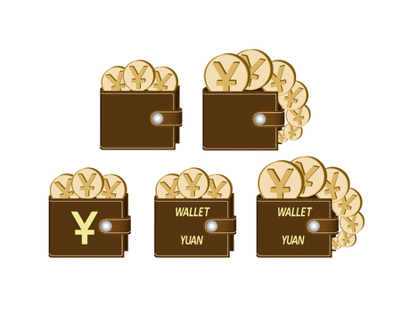 set of brown  wallets with yuan coins on a white background , currency in the wallet,sign and symbol currency concept in the form of coins,words wallet yuan and sign on the face of the wallet
