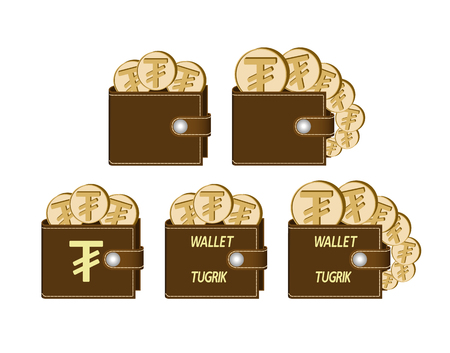 set of brown  wallets with tugrik coins on a white background , currency in the wallet,sign and symbol currency concept in the form of coins,words wallet tugrik and sign on the face of the wallet Stock Illustratie