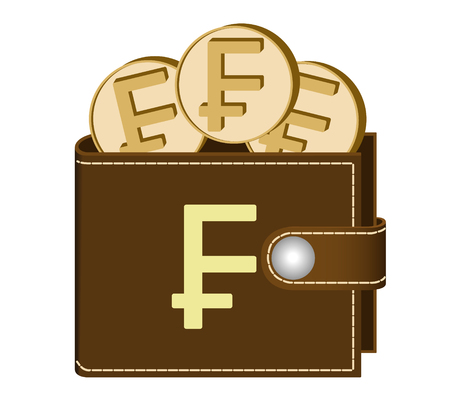 brown  wallet with franc coins on a white background , currency in the wallet,sign and symbol currency in the form of coins,design concept color ,sign franc on the face of the wallet