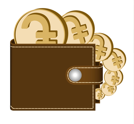 brown  wallet with dram coins on a white background , currency in the wallet,sign and symbol currency in the form of coins,design concept color