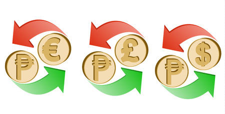 Exchange Philippines peso to euro, pound sterling and dollar on a white background , sign currency in the form coin with green and red arrow , color design concept