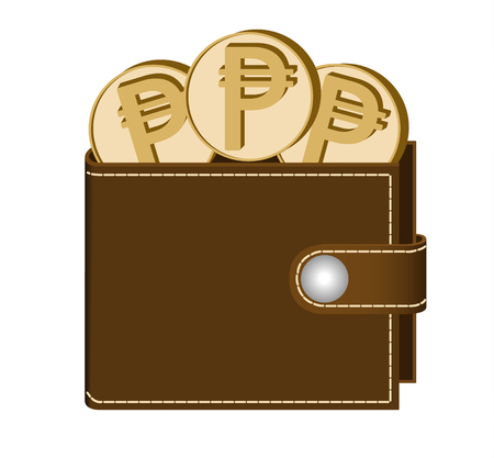 brown  wallet with peso coins on a white background , currency in the wallet,sign and symbol currency in the form of coins,design concept color Illustration