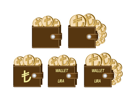 set of brown  wallets with lira coins on a white background , currency in the wallet,sign and symbol currency concept in the form of coins,words wallet lira and sign on the face of the wallet