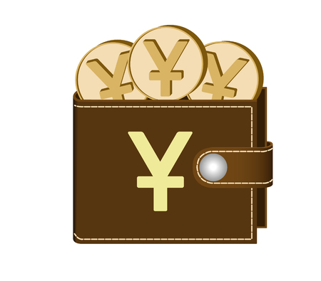 brown  wallet with yuan coins on a white background , currency in the wallet,sign and symbol currency in the form of coins,design concept color ,sign yuan on the face of the wallet Illustration