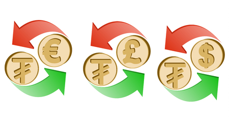 Exchange Mongolian tugrik to euro, pound sterling and dollar on a white background, sign currency in the form coin with green and red arrow, color design concept