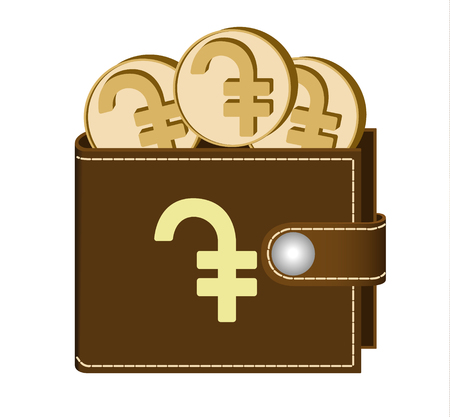 Brown  wallet with dram coins on a white background, currency in the wallet, sign and symbol currency in the form of coins, design concept color, sign dram on the face of the wallet Illustration