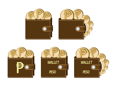 Set of brown  wallets with peso coins on a white background, currency in the wallet, sign and symbol currency concept in the form of coins, words wallet peso and sign on the face of the wallet