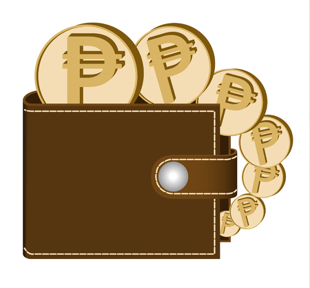 Brown wallet with Peso coins on a white background, currency in the wallet, sign and symbol currency in the form of coins, design concept color