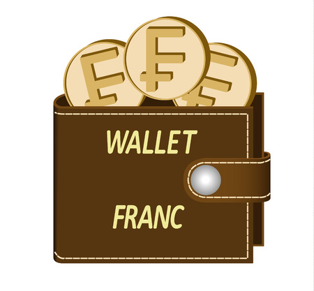Brown wallet with Franc coins on a white background, currency in the wallet, sign and symbol currency in the form of coins, design concept color, words Wallet Franc on the face of the wallet