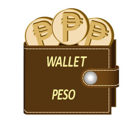 Brown wallet with Peso coins on a white background, currency in the wallet, sign and symbol currency in the form of coins, design concept color, words Wallet Peso on the face of the wallet