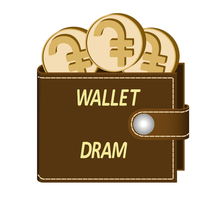 Brown wallet with Dram coins on a white background, currency in the wallet, sign and symbol currency in the form of coins, design concept color, words Wallet Dram on the face of the wallet