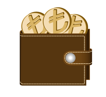 brown  wallet with lira coins on a white background , currency in the wallet,sign and symbol currency in the form of coins,design concept color Çizim
