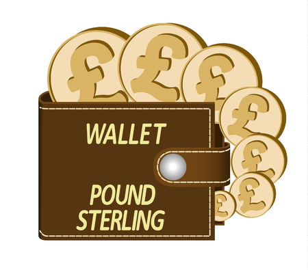 Brown wallet with Pound Sterling coins on a white background, currency in the wallet, sign and symbol currency in the form of coins, words Wallet Pound Sterling on the face of the wallet Illusztráció