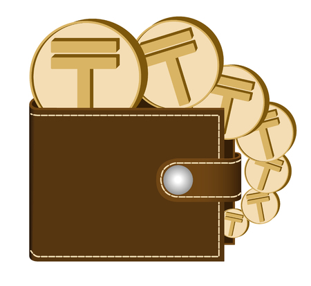 Brown wallet with Tenge coins on a white background, currency in the wallet, sign and symbol currency in the form of coins, design concept color