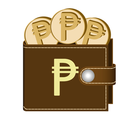 Brown wallet with Peso coins on a white background, currency in the wallet, sign and symbol currency in the form of coins, design concept color, sign Peso on the face of the wallet