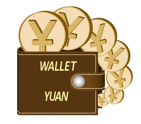 Brown wallet with Yuan coins on a white background, currency in the wallet, sign and symbol currency in the form of coins, design concept color, words Wallet Yuan on the face of the wallet Illustration