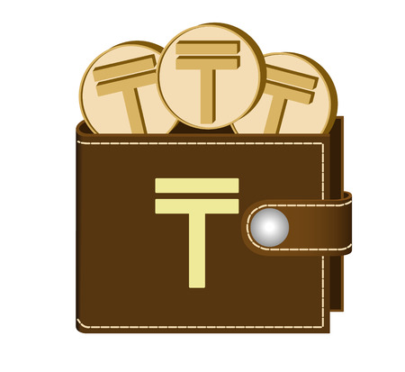 Brown wallet with Tenge coins on a white background, currency in the wallet, sign and symbol currency in the form of coins, design concept color, sign Tenge on the face of the wallet