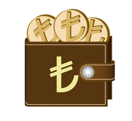 Brown wallet with Lira coins on a white background, currency in the wallet, sign and symbol currency in the form of coins, design concept color, sign Lari on the face of the wallet